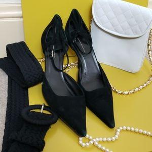 BR | Black Suede Pointe Heels